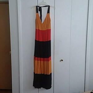 Ashley Stewart Dresses - Striped Color Blocked Halter Maxi Dress